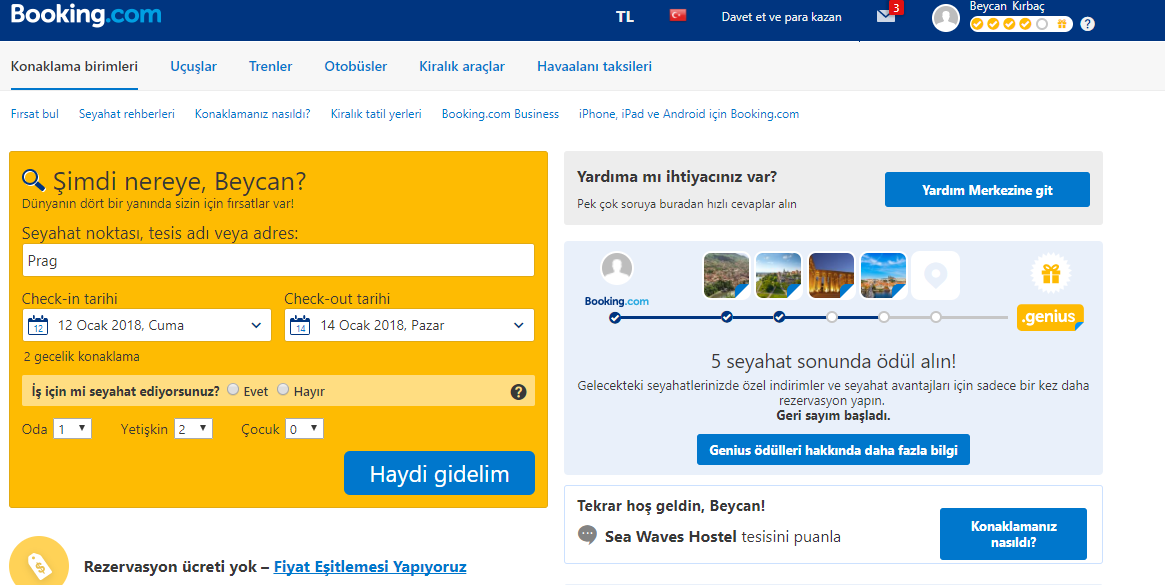 Booking.com Site Arayüzü